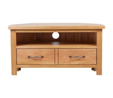 "vidaXL TV Cabinet with Drawer Solid Oak Wood 34.6""x16.5""x18.1""[2/7]"