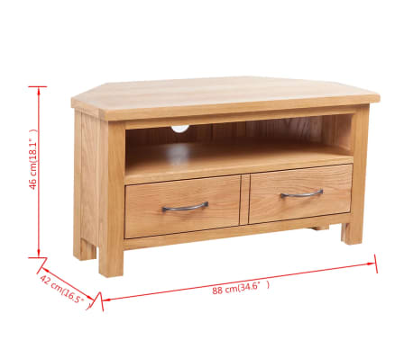 "vidaXL TV Cabinet with Drawer Solid Oak Wood 34.6""x16.5""x18.1""[7/7]"