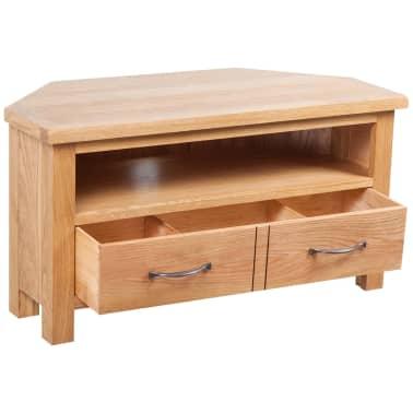"vidaXL TV Cabinet with Drawer Solid Oak Wood 34.6""x16.5""x18.1""[3/7]"