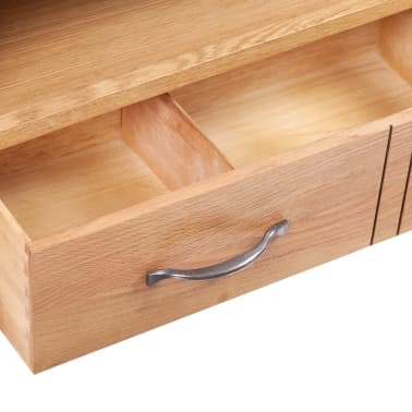 "vidaXL TV Cabinet with Drawer Solid Oak Wood 34.6""x16.5""x18.1""[4/7]"