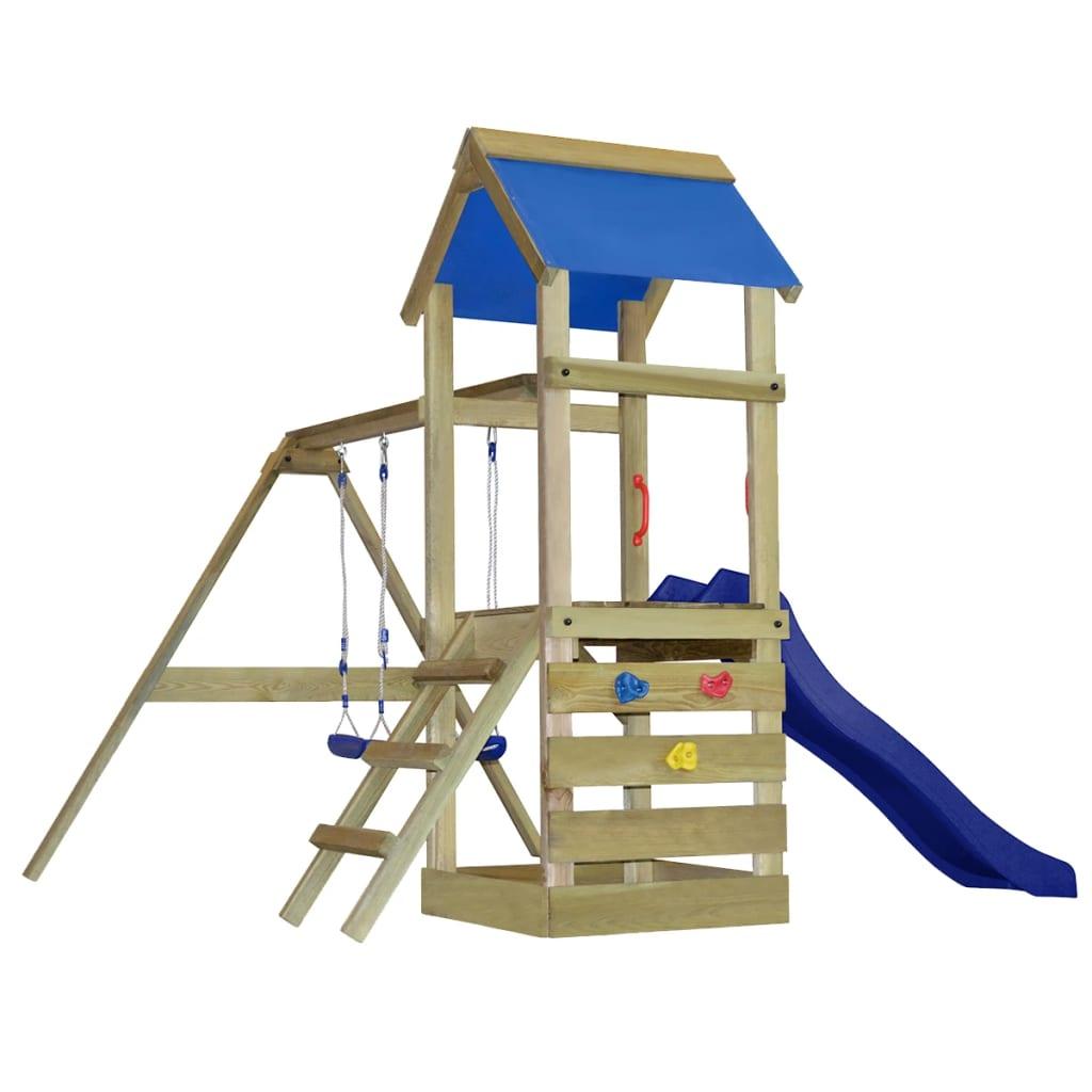 Dřevěná exteriérová hrací věž se skluzavkou, žebříkem a houpačkami S