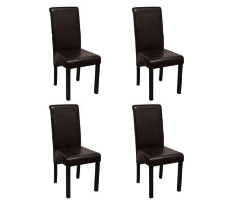 Vidaxl 4 pz sedie da pranzo in pelle artificiale marrone for Sedie in pelle marrone