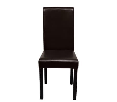 Vidaxl sillas de comedor 4 unidades de cuero artificial for Sillas comedor cuero marron