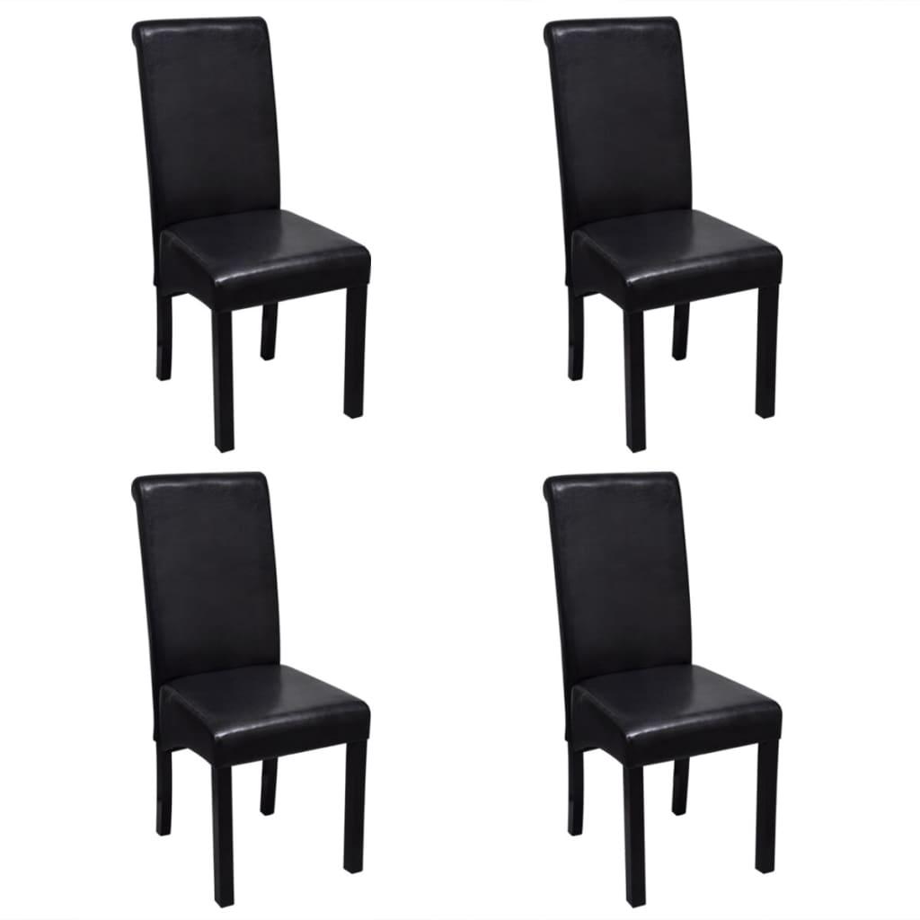 vidaXL Jídelní židle 4 ks umělá kůže černá