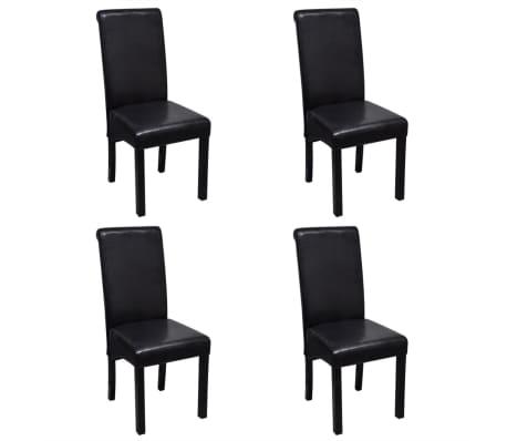 vidaXL Valgomojo kėdės, 4 vnt., juodos spalvos, dirbtinė oda