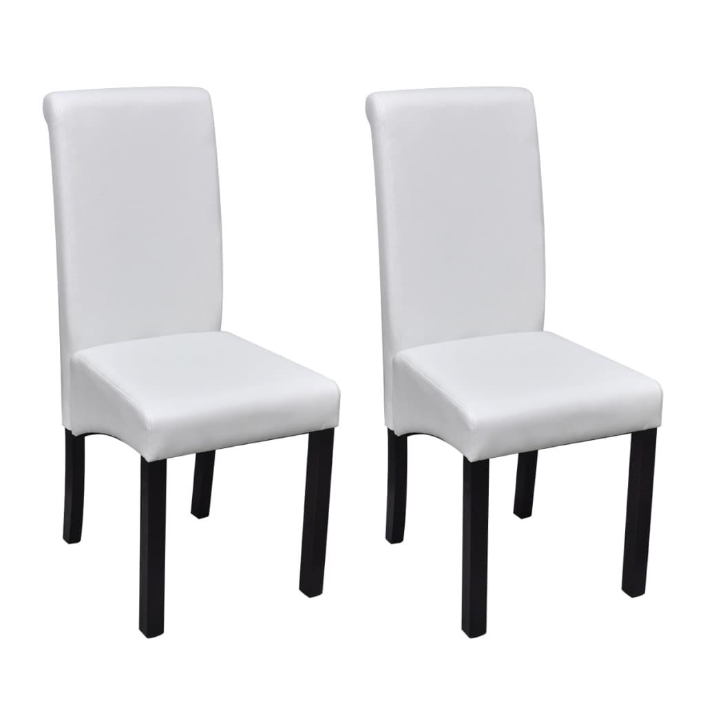 vidaXL Καρέκλες Τραπεζαρίας 2 τεμ. Λευκές από Συνθετικό Δέρμα