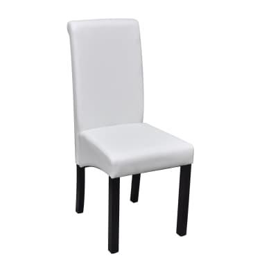 Vidaxl 2 pz sedie da pranzo in pelle artificiale bianca for Sedie in pelle bianca