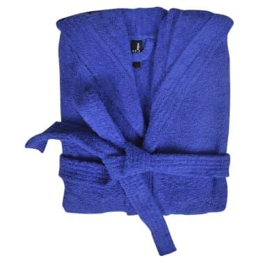 500 g/m² Unisex Frottee-Bademantel 100% Baumwolle Blau M[2/3]