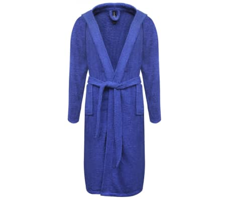 vidaXL 500 g/m² Unisex Terry Bathrobe 100% Cotton Blue XXL