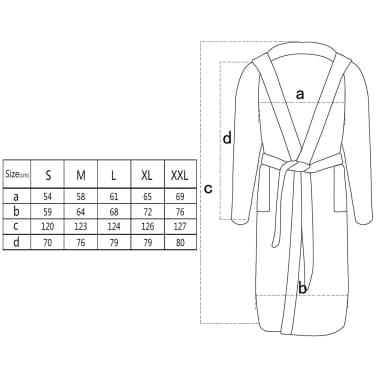 500 g/m² Badjas badstof zwart unisex (maat M)[3/3]