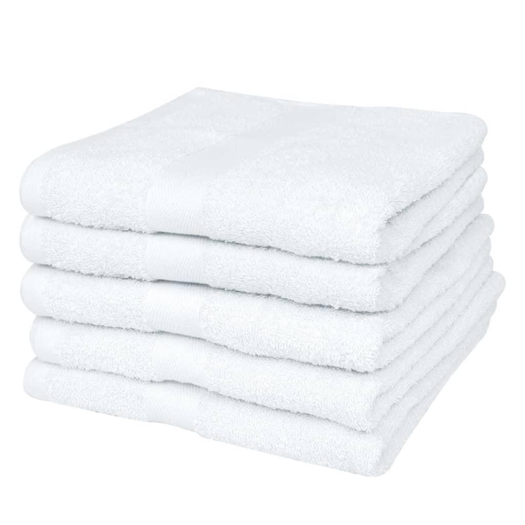 vidaXL Set prosoape de duș, 5 buc, bumbac, 500 gsm, 70 x 140 cm, alb poza 2021 vidaXL