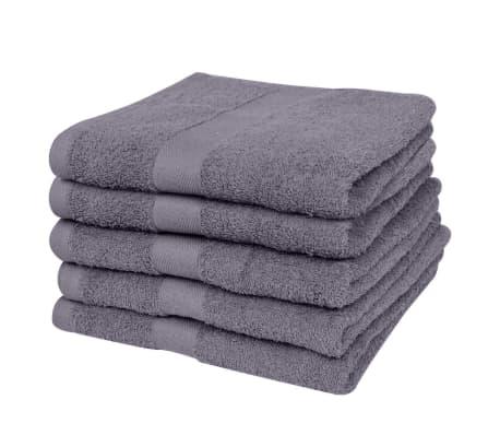 vidaXL Ręczniki, 5 szt., bawełna, 500 g/m², 70x140 cm, antracytowe[2/2]