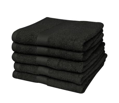 vidaXL Ręczniki, 5 szt., bawełna, 500 g/m², 50x100 cm, czarne[1/2]