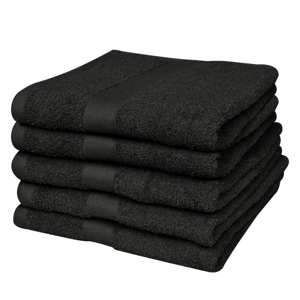 vidaXL Sada sprchových osušek 5 ks bavlna 500 g/m² 70x140 cm černá