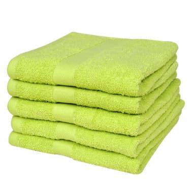 vidaXL håndklædesæt 5 stk. bomuld 500 gsm 50x100 cm æblegrøn[1/2]