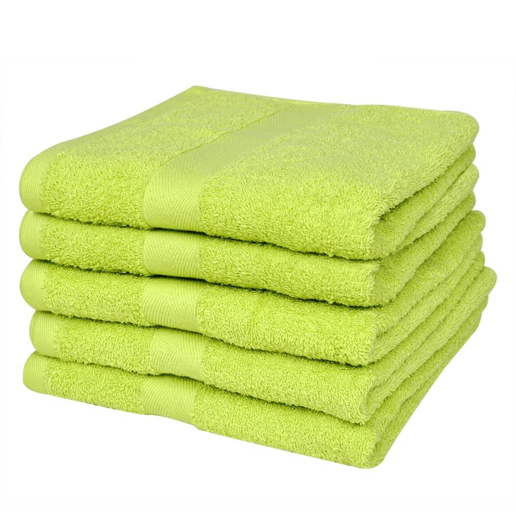 Sada koupelových osušek 5 ks bavlna 500 g/m² 100x150 cm zelená