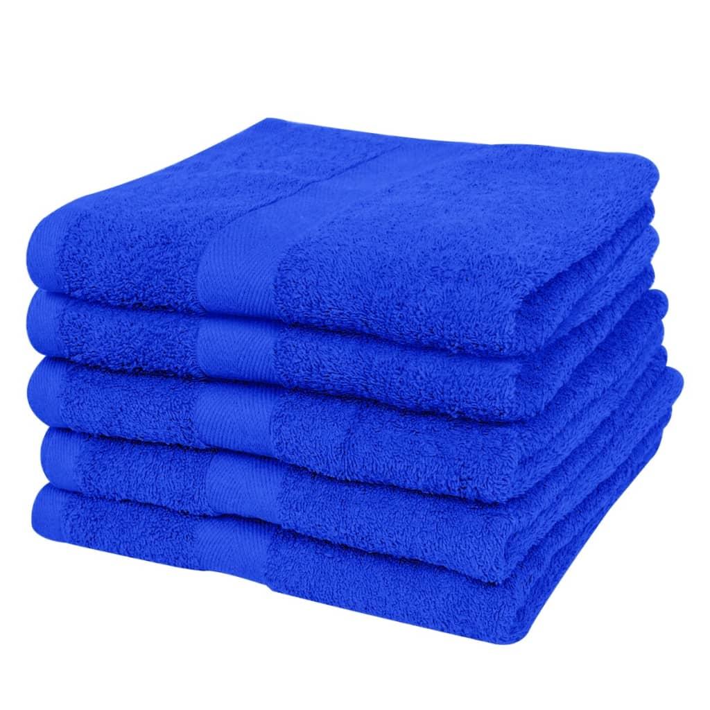 vidaXL Handdoekenset 500 gsm 50x100 cm katoen koningsblauw 5-delig