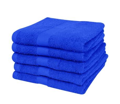 vidaXL Serviette de douche 5 pcs Coton 500 gsm 100x150 cm Bleu royal[2/2]