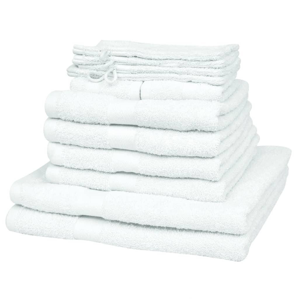 Sada ručníků do domácnosti 12 ks, 100 % bavlna 500 gsm, bílá
