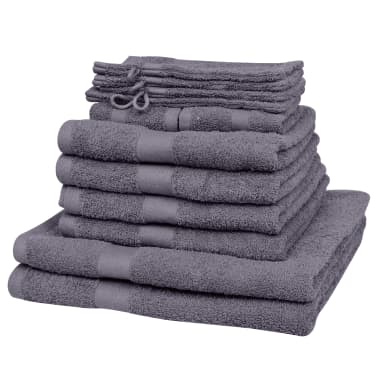 vidaXL håndklædesæt i 12 dele bomuld 500 gsm antracitgrå[1/2]