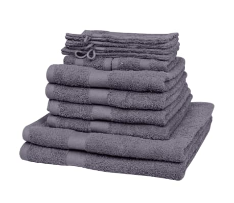 vidaXL håndklædesæt i 12 dele bomuld 500 gsm antracitgrå[2/2]