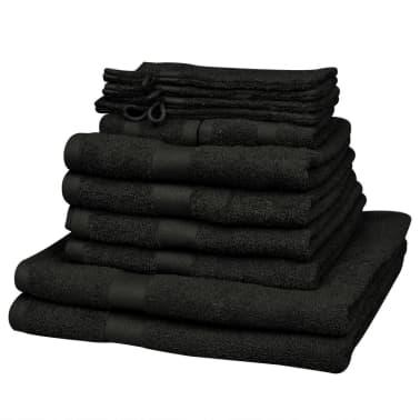 vidaXL Handdoekenset 500 gsm katoen zwart 12-delig[1/2]