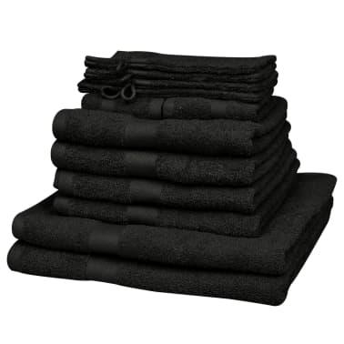 vidaXL Handdoekenset 500 gsm katoen zwart 12-delig[2/2]