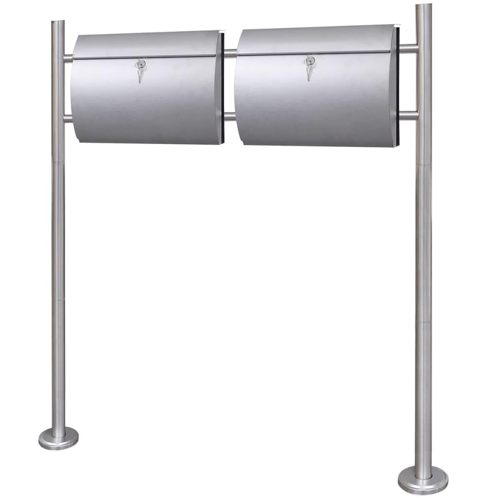 vidaXL Dvojitá poštovní schránka se stojanem nerezová ocel