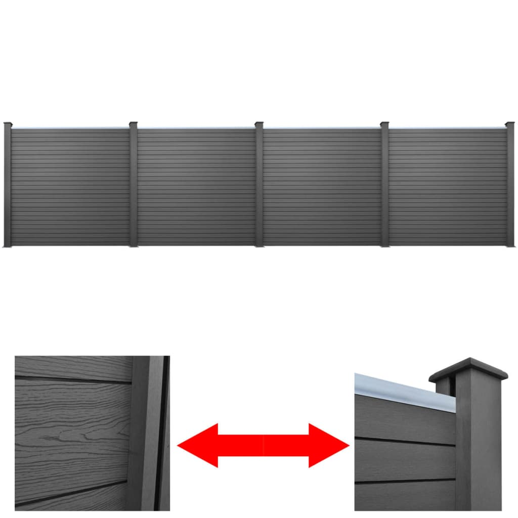4 ks čtvercové WPC zahradní plotové dílce šedé 774 cm
