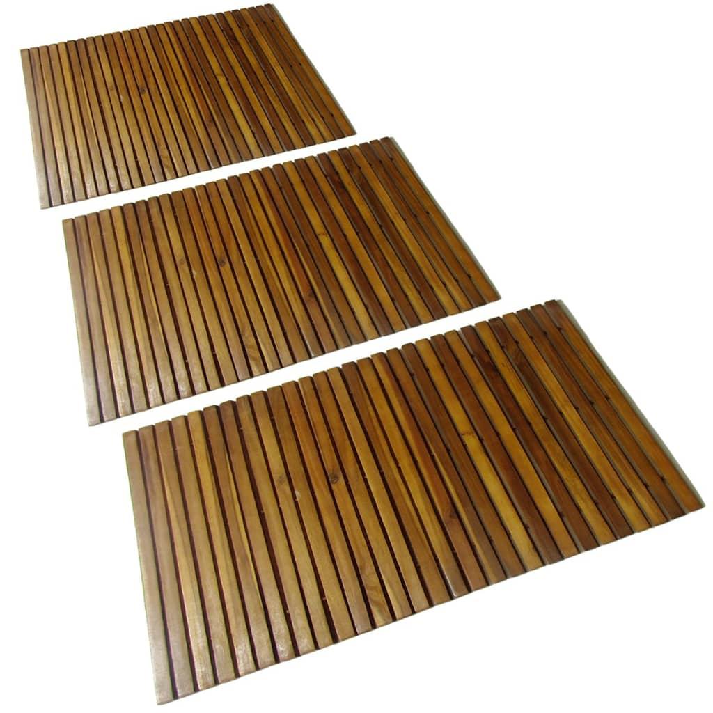Koupelnová předložka 3 ks 80 x 50 cm akáciové dřevo
