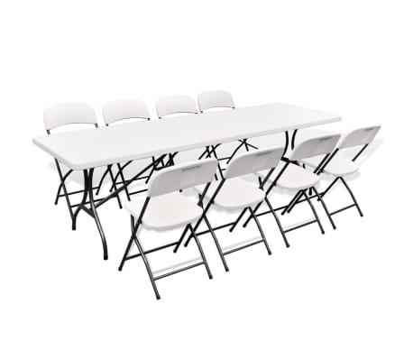 acheter vidaxl mobilier de jardin 9 pcs hdpe pliable blanc 244 cm pas cher. Black Bedroom Furniture Sets. Home Design Ideas