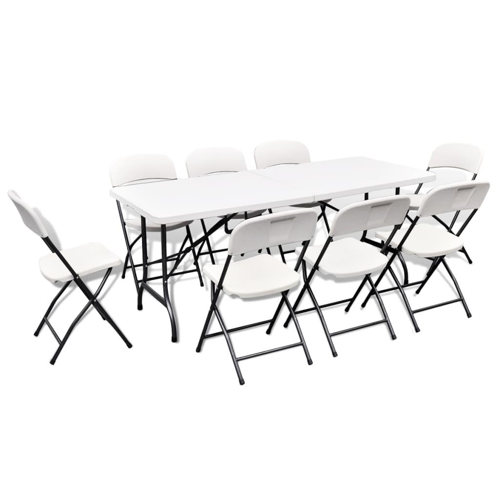 vidaXL Zahradní nábytek jídelní set 9 ks HDPE bílý 180 cm skládací
