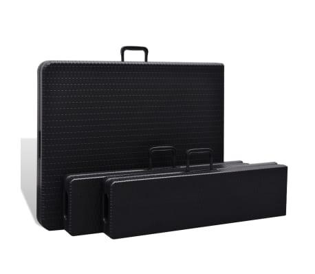 vidaXL Table de jardin avec 2 bancs PEHD Noir Aspect de rotin[3/10]