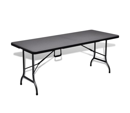 vidaXL Table de jardin avec 2 bancs PEHD Noir Aspect de rotin[7/10]