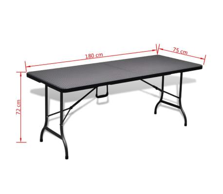vidaXL Table de jardin avec 2 bancs PEHD Noir Aspect de rotin[10/10]