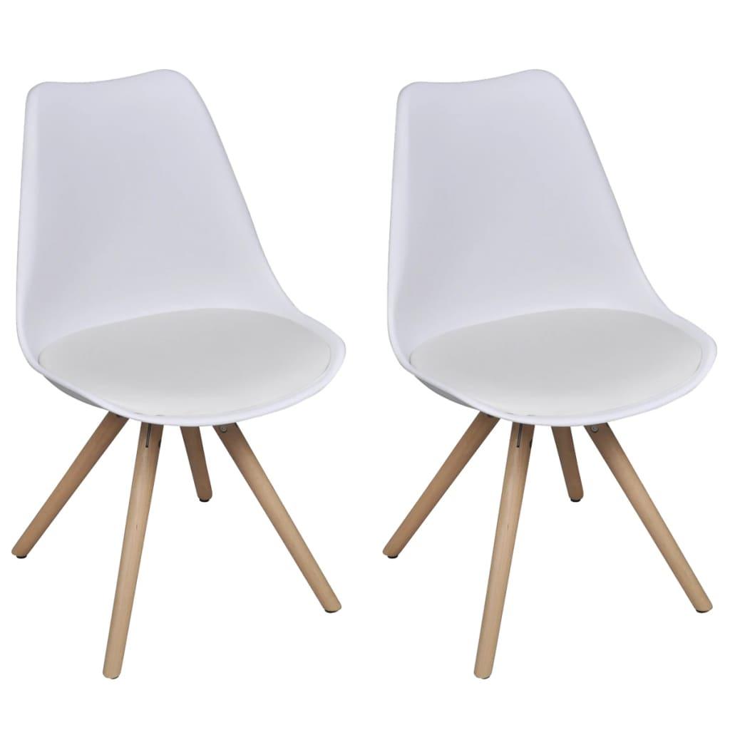 2 ks bílých jídelních židlí z imitace kůže