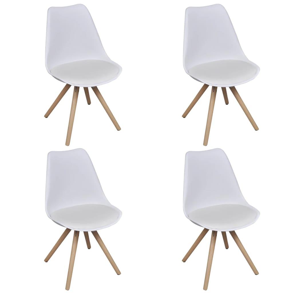 4 ks bílých jídelních židlí z imitace kůže
