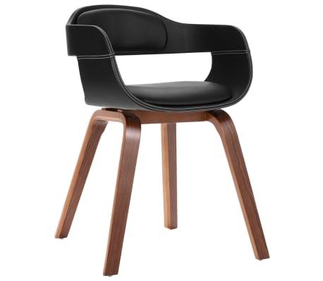 vidaXL Cadeira de jantar madeira curvada e couro artificial