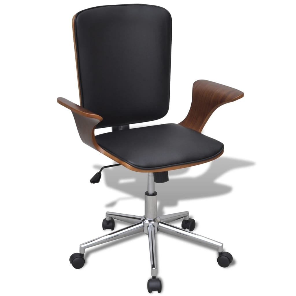 vidaXL Καρέκλα Γραφείου Περιστρεφόμενη από Λυγισμένο Ξύλο και Συνθετικό Δέρμα
