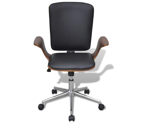 Swivel Office Chair Bentwood with Artificial Leather Upholstery[2/5]
