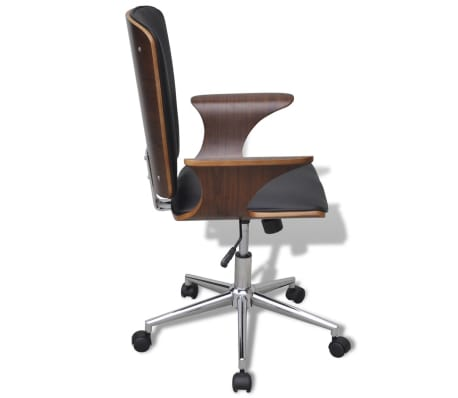 Swivel Office Chair Bentwood with Artificial Leather Upholstery[3/5]