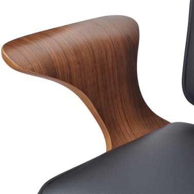 Swivel Office Chair Bentwood with Artificial Leather Upholstery[4/5]