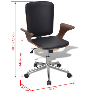 Swivel Office Chair Bentwood with Artificial Leather Upholstery[5/5]