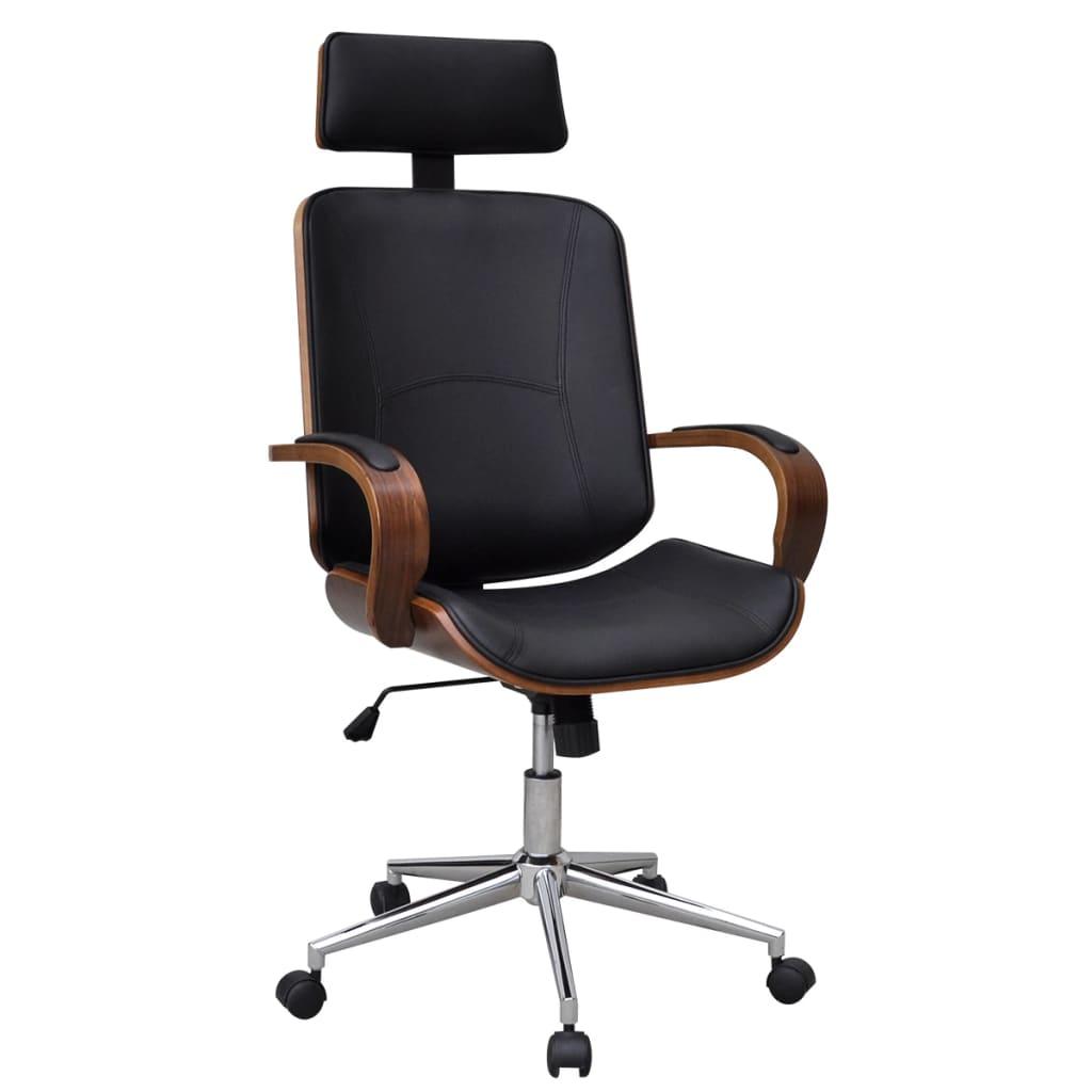 Scaun de birou pivotant cu tetieră, lemn curbat și piele artificială vidaxl.ro