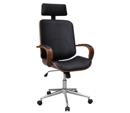 Pasukama Biuro Kėdė su Atrama Galvai, Lenkta Mediena ir Dirbtinė Oda
