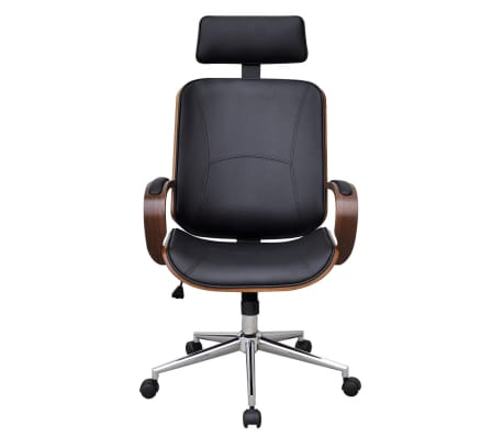Swivel Office Chair with Headrest Bentwood Artificial Leather[2/5]