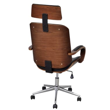 Swivel Office Chair with Headrest Bentwood Artificial Leather[3/5]
