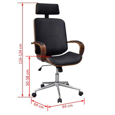 Swivel Office Chair with Headrest Bentwood Artificial Leather[5/5]