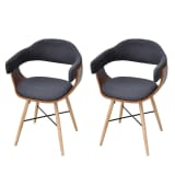 2 pcs Dining Chair Bentwood with Fabric Upholstery