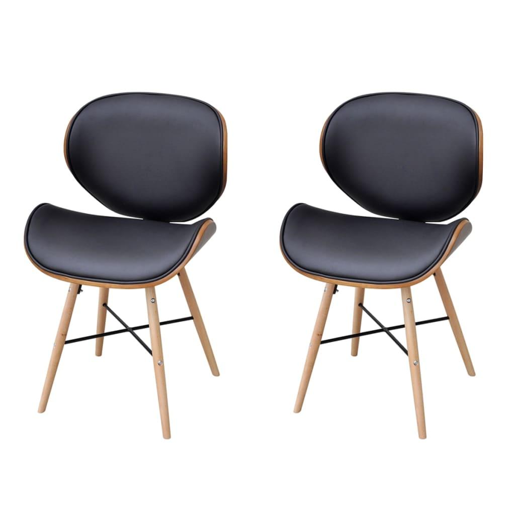 2 jídelní židle s rámem z ohýbaného dřeva, bez područek